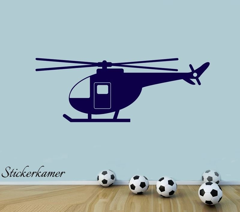 Vliegtuig helikopter muursticker babykamer