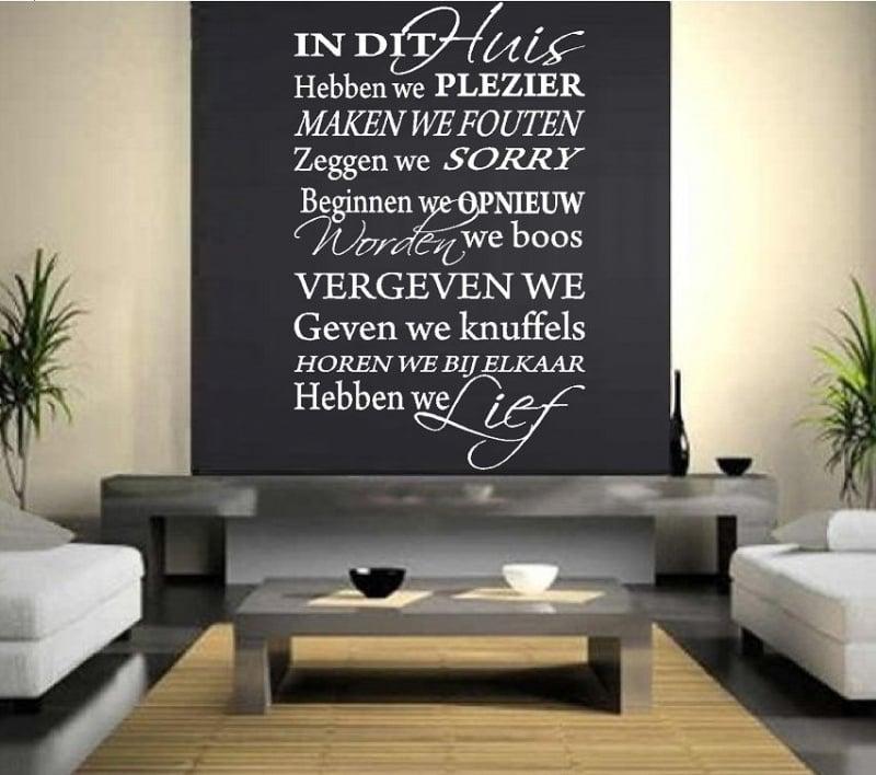 Huisregels tekst: In dit huis hebben we plezier, maken we fouten, houden we van elkaar.