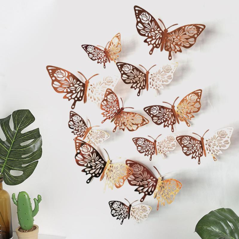 12 stuks rose / gouden 3d vlinders muurdecoratie (10)