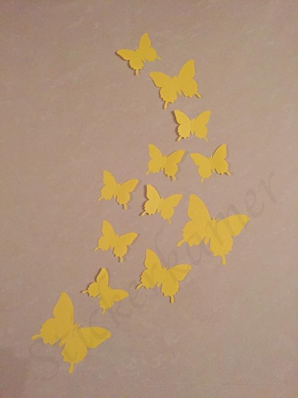 Muursticker losse 3d vlinders (geel)