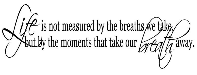 Life is not measured by the breaths we take, but by the moments that take out breath away.
