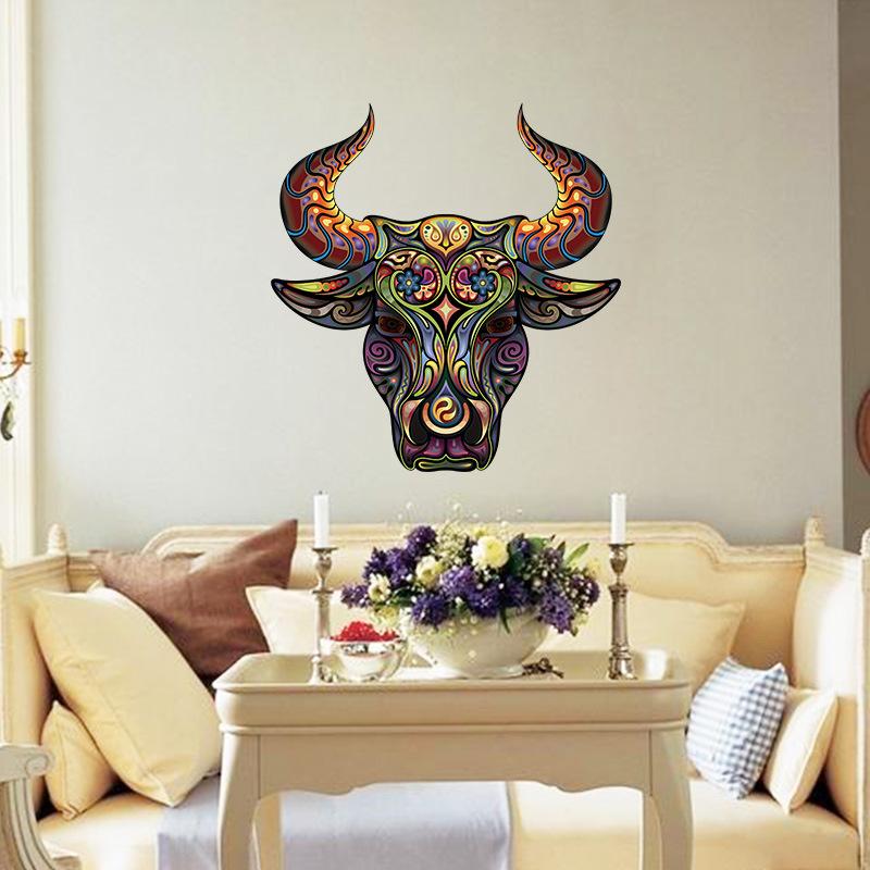 Muursticker ox dierenkop met bloem patroon