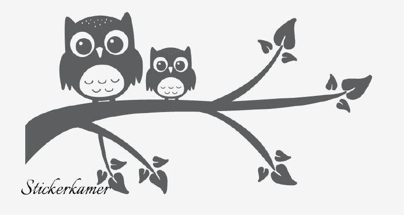 muursticker uilen op tak plakgereedschap geen
