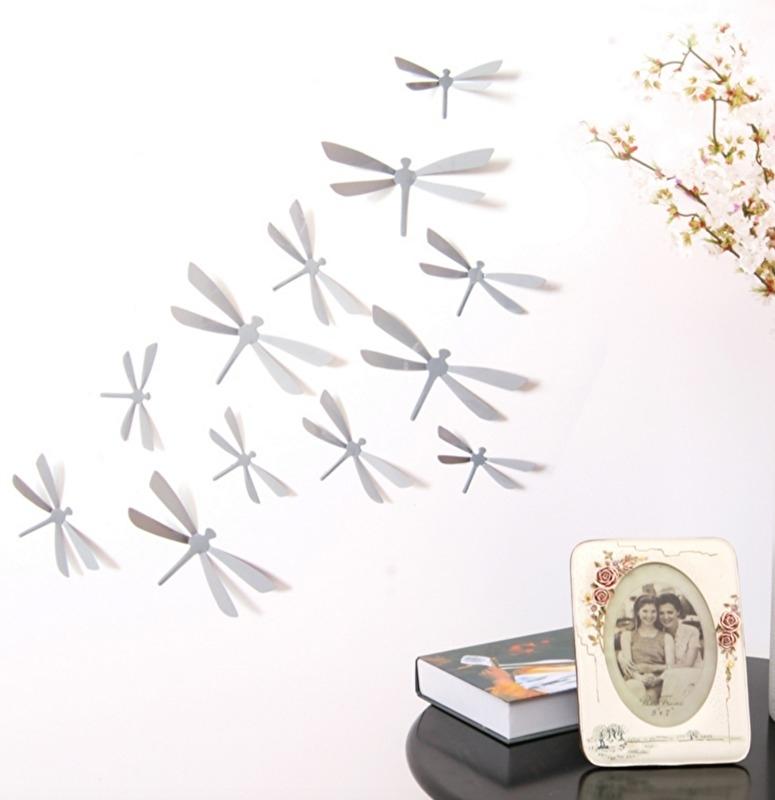 3D libellen grijs