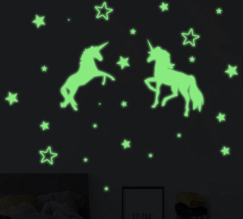 Muursticker glow in the dark unicorn - sterren