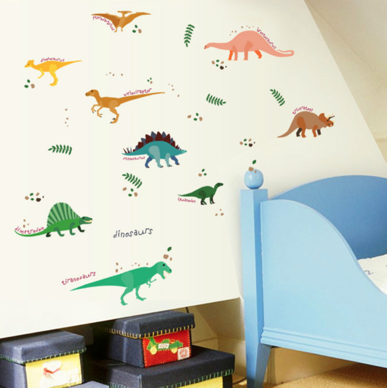 Muursticker dinosaurus mix stoer kinderkamer jongen