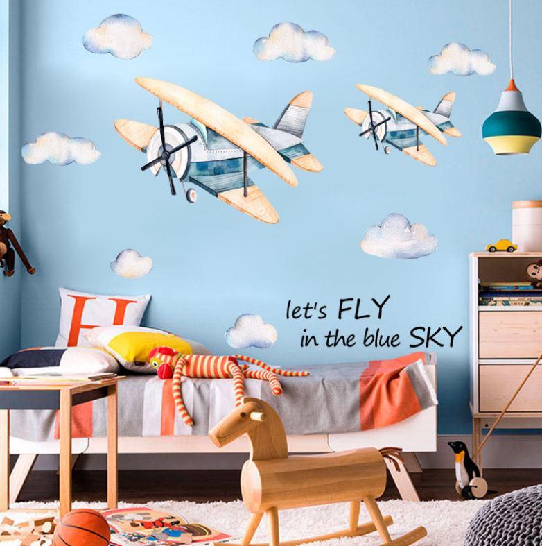 Muursticker vliegtuig kinderkamer