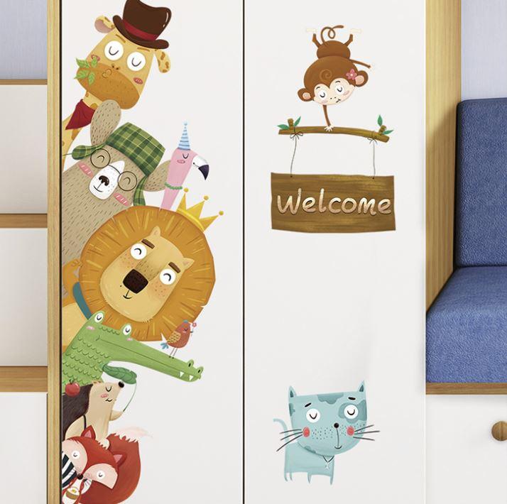 Muursticker dieren mix kinderkamer decoratie