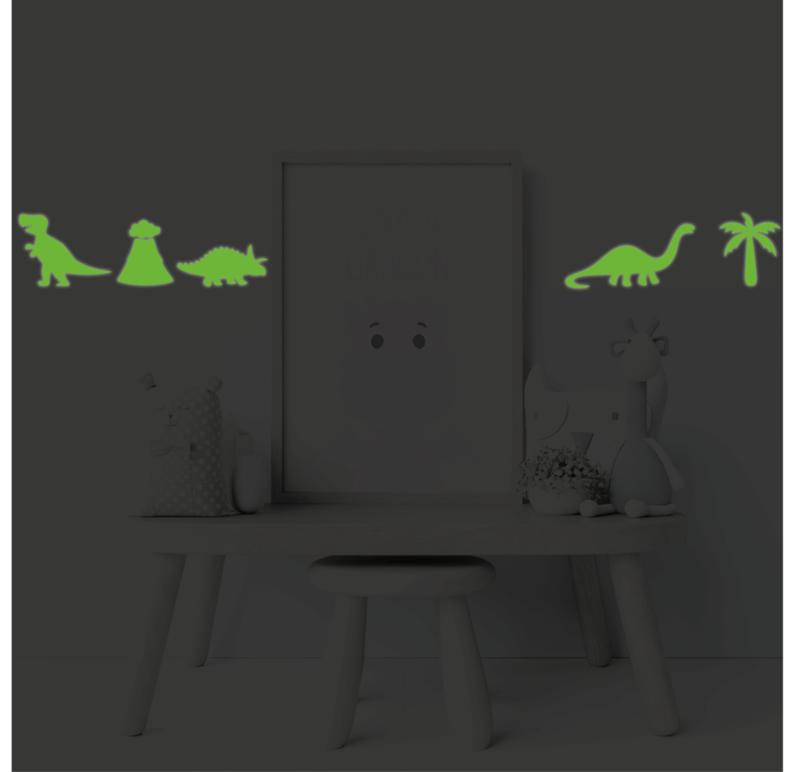 Muursticker glow in the dark dinosaurus 10 delig kinderkamer