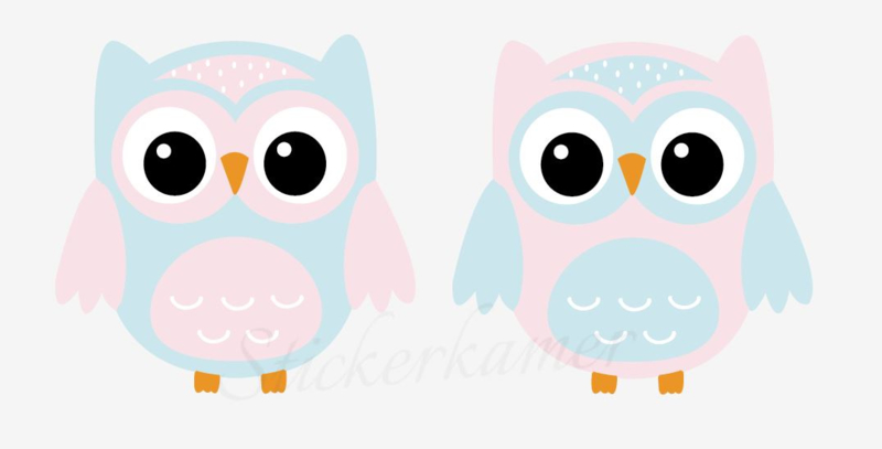 Little owl muursticker uilen licht blauw - roze