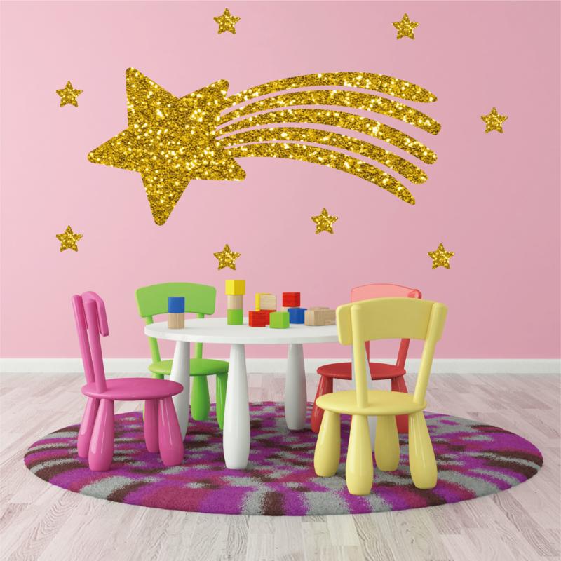 Muursticker vallende ster goud glitter