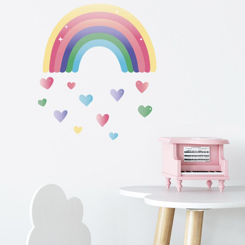 Muursticker regenboog met hartjes kinderkamer