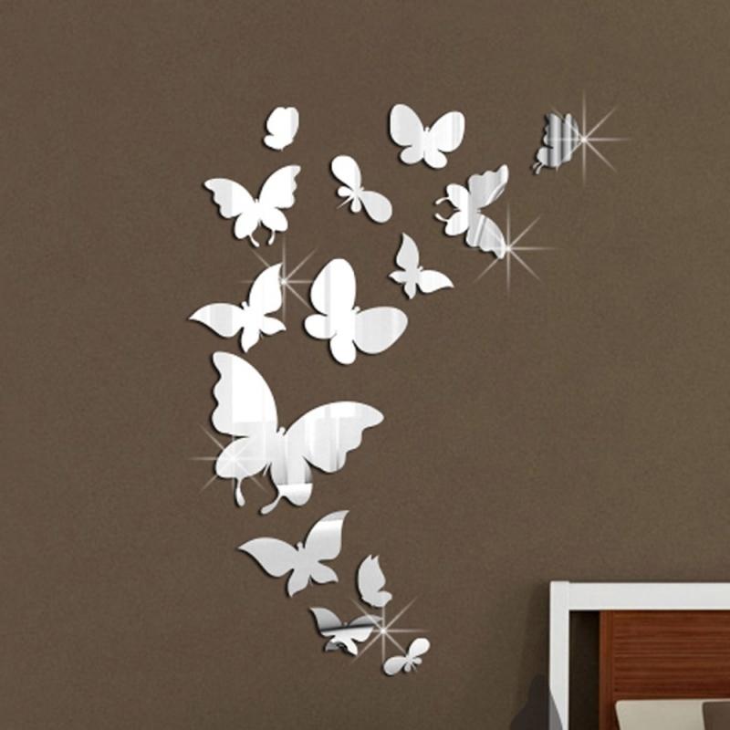 Muurdecoratie Vlinders Met Spiegel Effect 3d Vlinders En Bloemen Stickerkamer