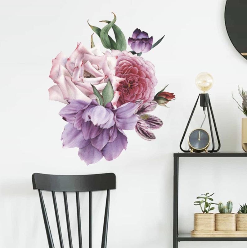 Muursticker pioenrozen bloemen paars - rood - roze
