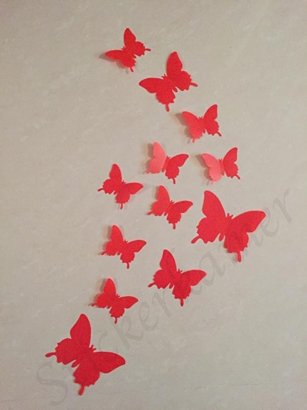Muursticker losse 3d vlinders  (rood)