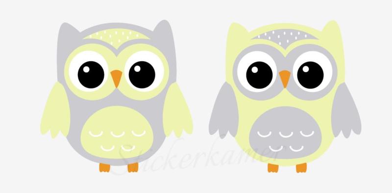 Little owl muursticker uilen licht grijs - geel