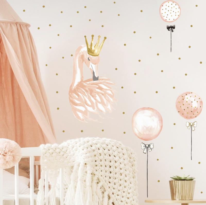 Muursticker flamingo roze ballonnen en stippen
