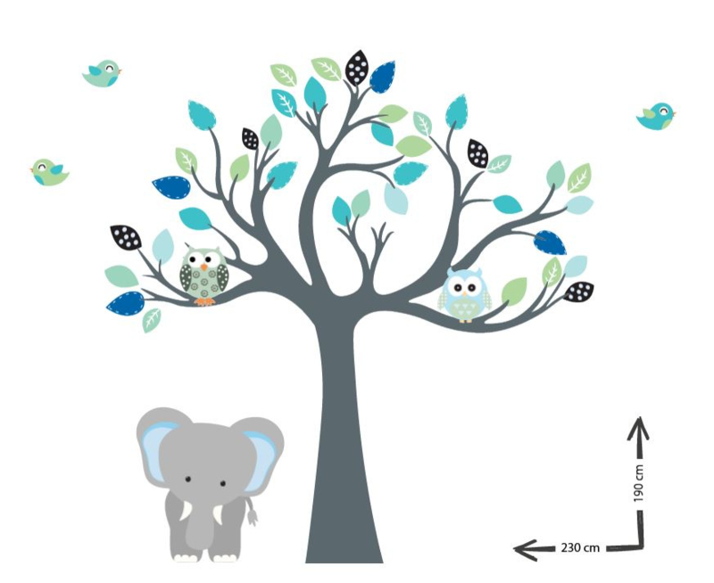Custom muursticker boom cuddle tree olifant kinderkamer