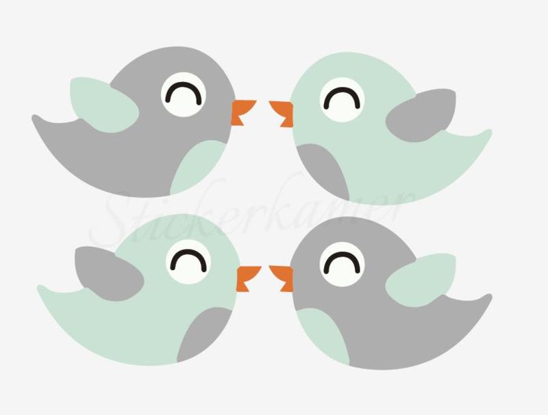 Little bird Mint - Grijs (4 stuks)