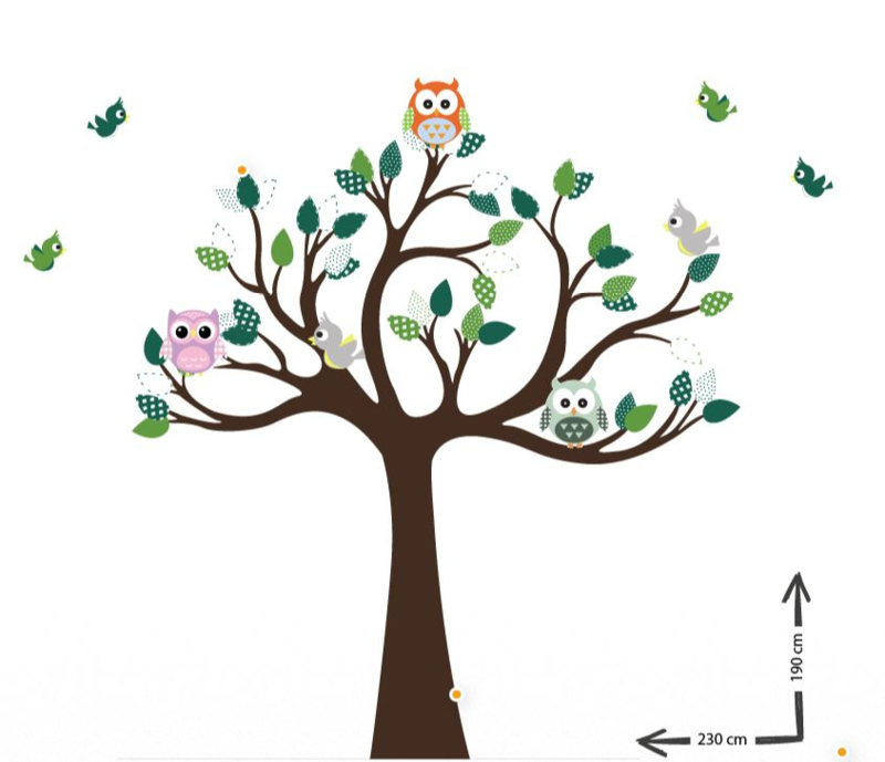 Muursticker boom Jungle tree groen thema kinderkamer
