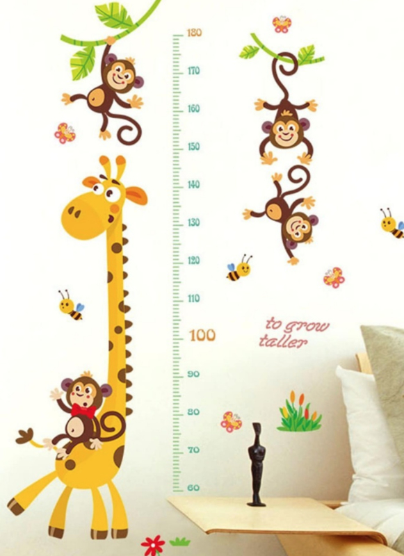 Muursticker giraffe - aapjes groeimeter kinderkamer