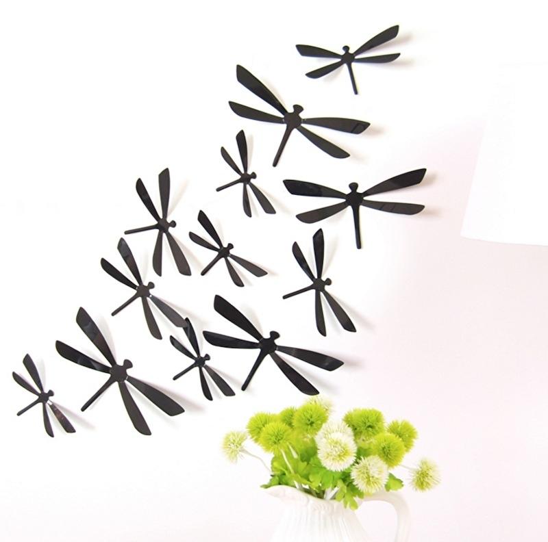 3D libellen zwart