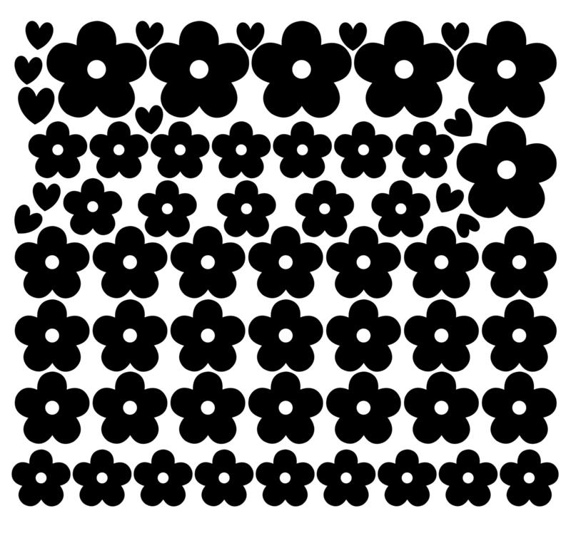 Losse set muursticker bloesemblaadjes met hartjes