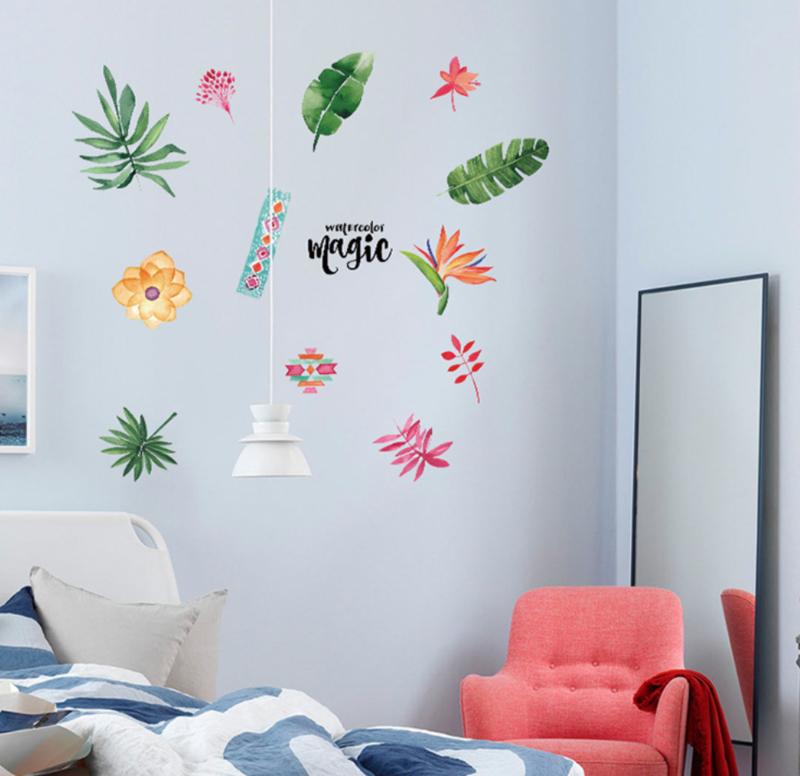 Muursticker decoratieve bloemen palmbladeren groen
