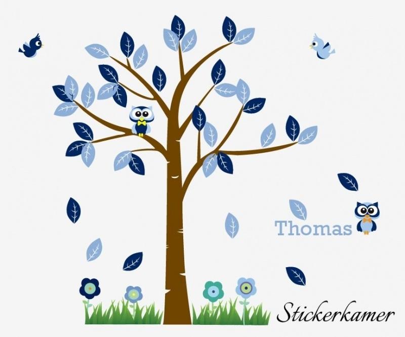 Jongenskamer boom met uil en vogel (blauw)