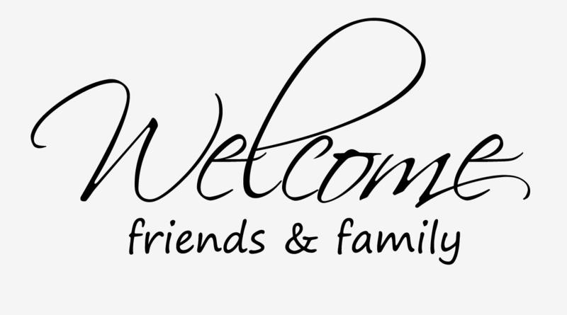 Welcome friends & family muursticker tekst