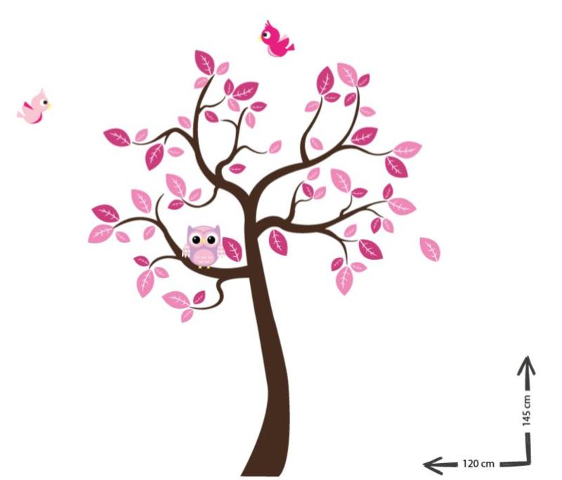 Muursticker jungle boom roze thema lieven