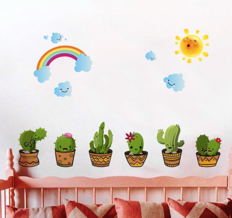 Muursticker cactus plant  groen met gezichtjes babykamer - kinderkamer