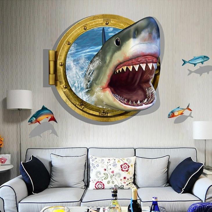 Muursticker witte haai  en visjes  uit raam kinderkamer