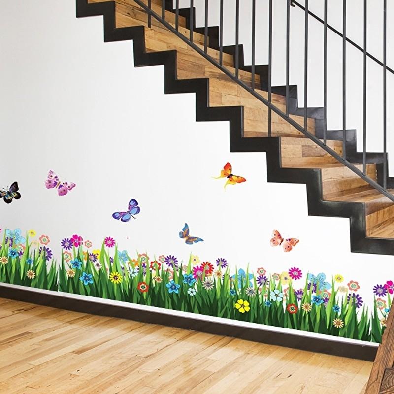 Gras strook met vlinders muursticker