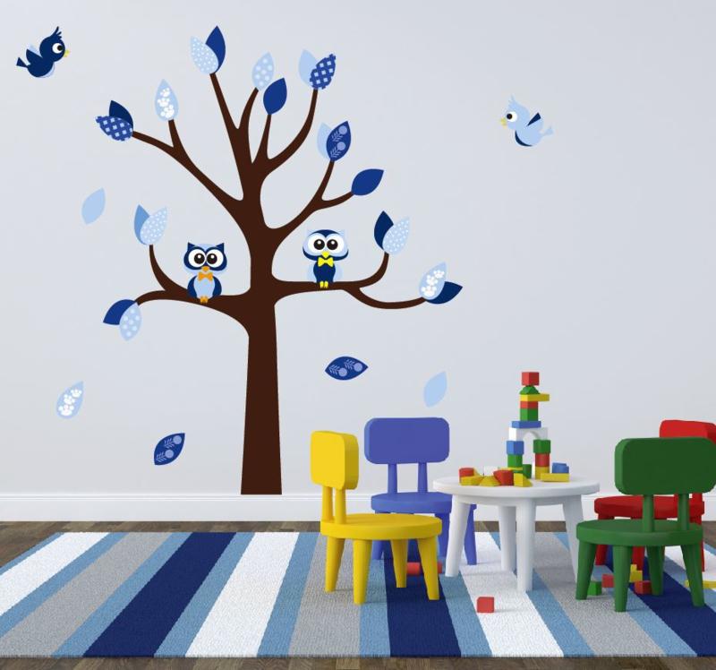 Muursticker boom met uilen en vogels kinderkamer jongen