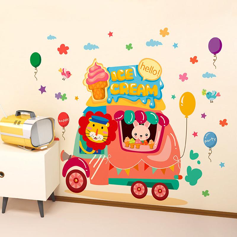 Muursticker ijsjes auto met dieren babykamer - kinderkamer