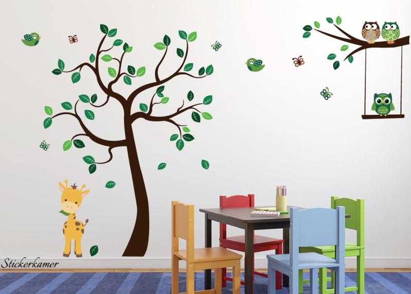 Muursticker Boom met uilen en giraffe babykamer