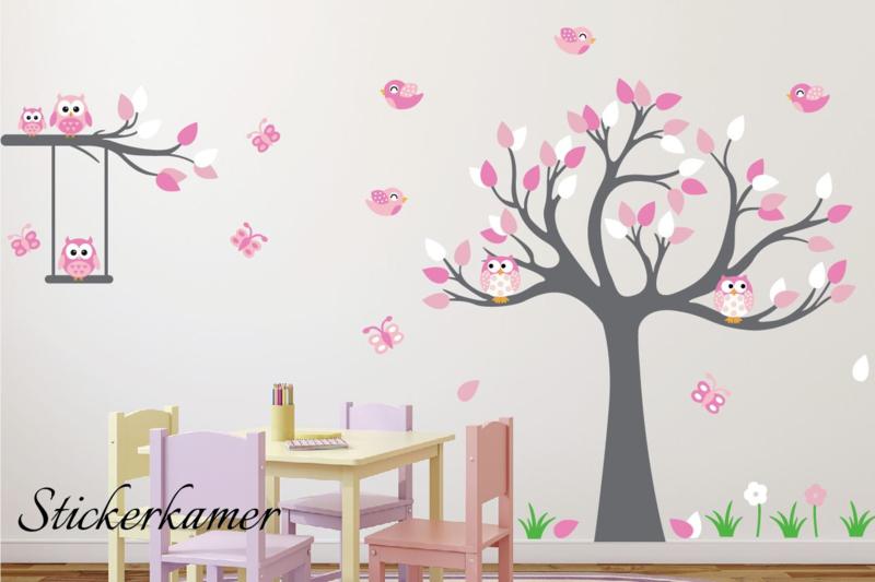 Muursticker boom meisjeskamer zacht roze