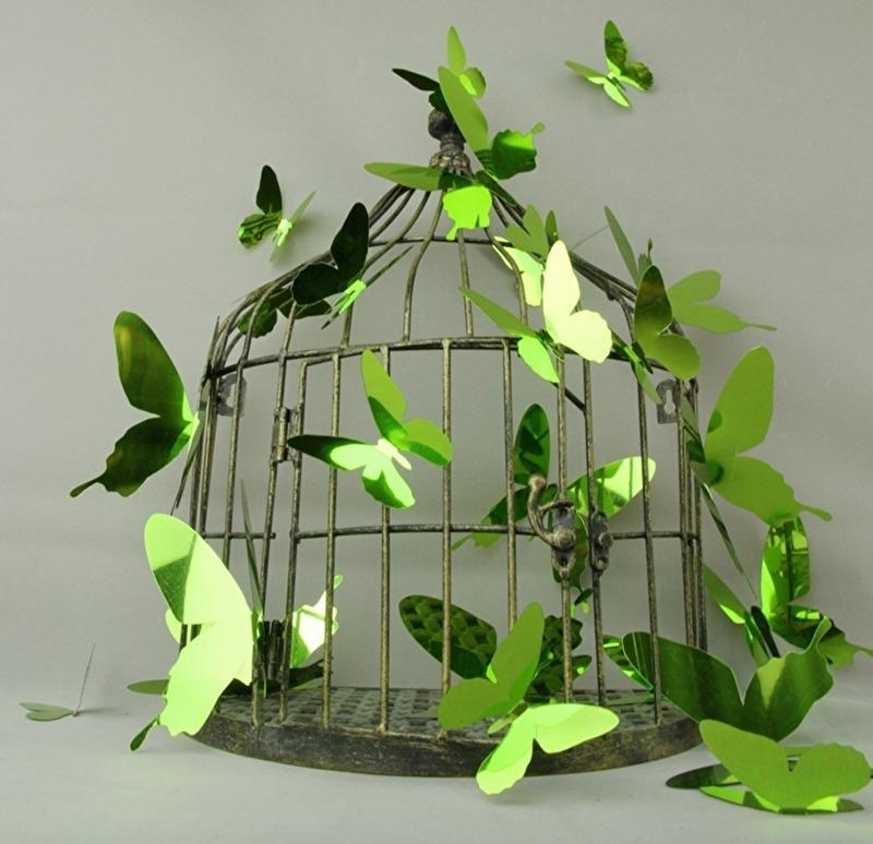 Muursticker losse 3d vlinders (groen glans)