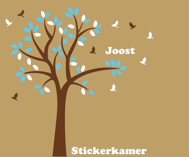 Muursticker boom met vogels en naam (blauw/wit)