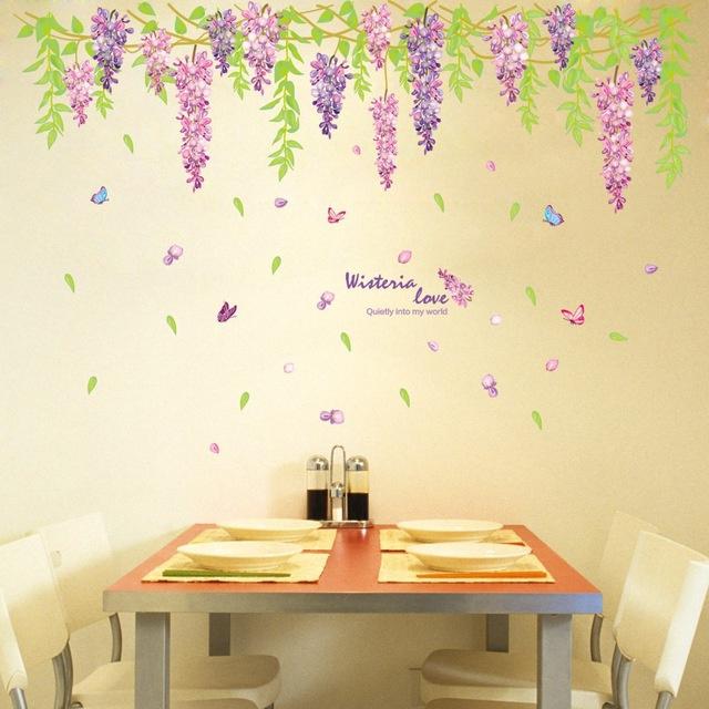 Muursticker bloemen / planten wisteria strook paars