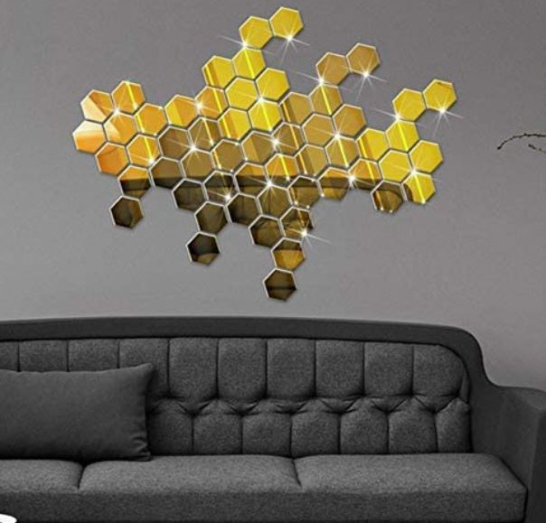 Spiegel hexagon vorm decoratie acryl muursticker (goud)