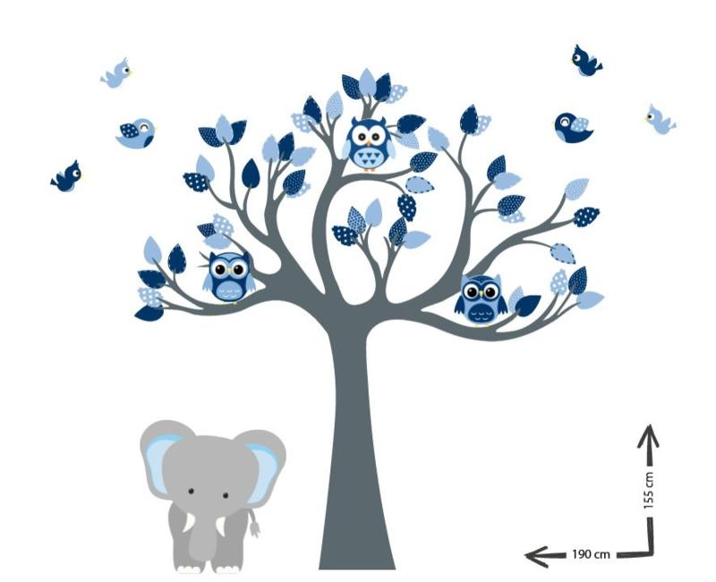 Muursticker boom kinderkamer thema blauw