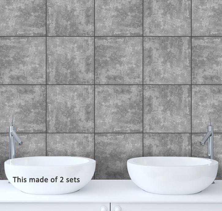 Tegel stickers grey stone  15x15 cm