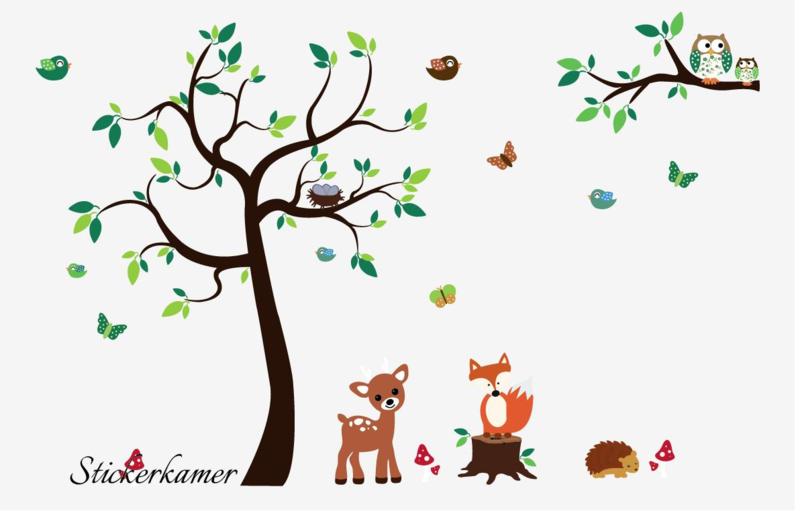 Muursticker Babykamer Boom Met Dieren.Muursticker Kinderkamer Boom Met Vos En Hert Bambi Kleur