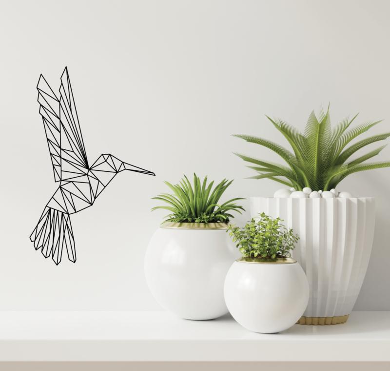 Muursticker vogel kolibrie geometrisch  design