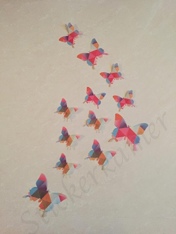 Muursticker losse 3d vlinders  (mix kleur)