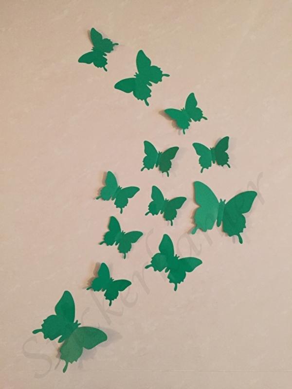 Muursticker losse 3d vlinders (donker groen)