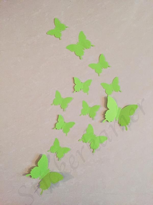 Muursticker losse 3d vlinders  (licht groen)