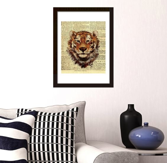 Muursticker / poster tijger krant look newspaper